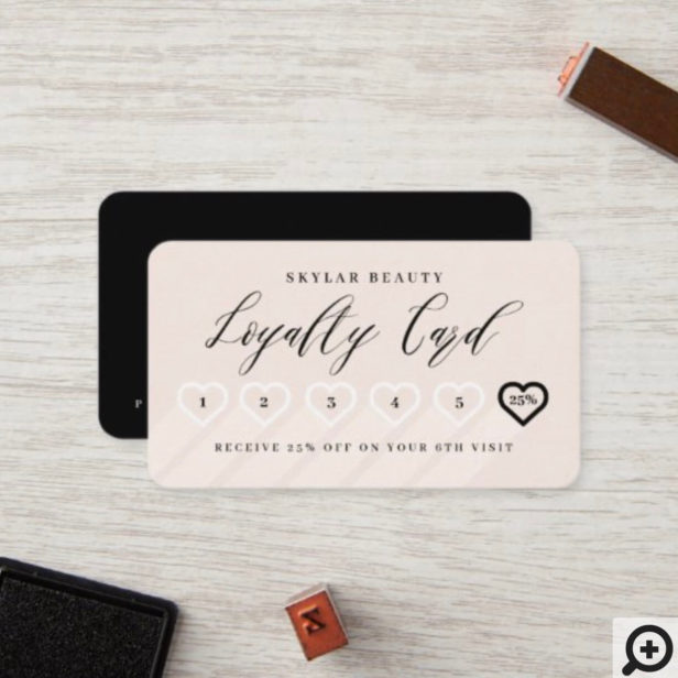 Blush Pink & Black Stylish Minimal Heart Love Loyalty Card