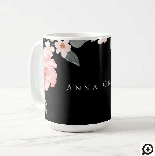 Blush Pink Girly Watercolor Floral Rose Black Coffee Mug