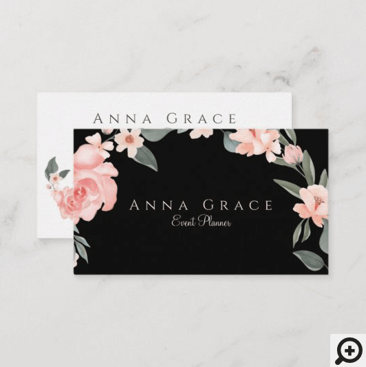 Blush Pink Girly Watercolor Floral Rose Business Card