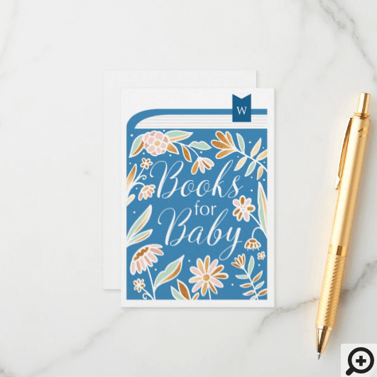 Books For Baby Floral Book & Bookmark Blue Enclosure Card