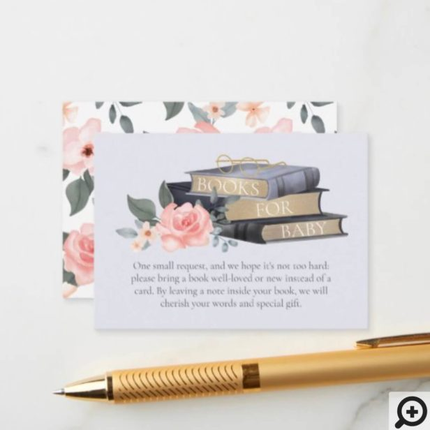 Books for Baby Boy Floral Roses & Stacked Books Enclosure Card