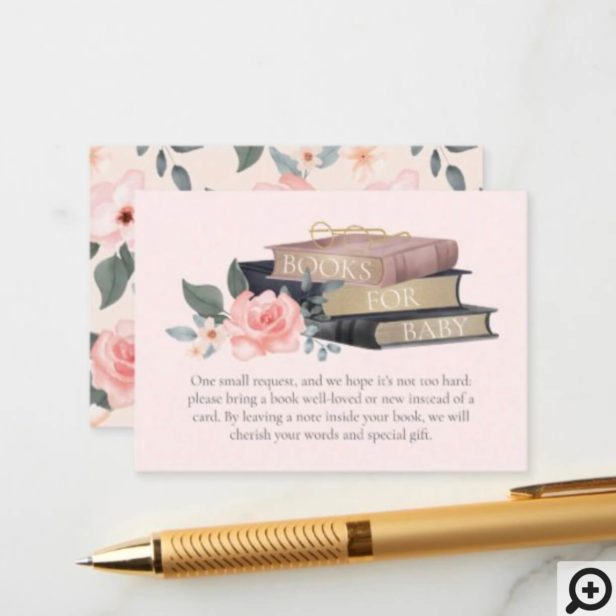 Books for Baby Girl Floral Roses & Stacked Books Enclosure Card