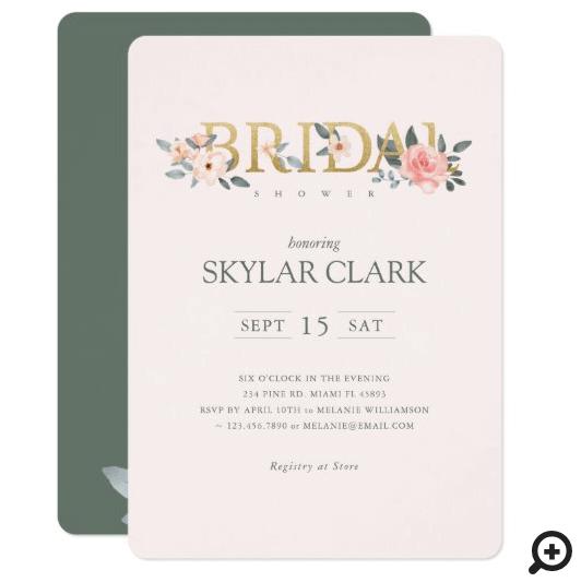 Bridal Shower Watercolor Floral Blush Rose Garden Invitation