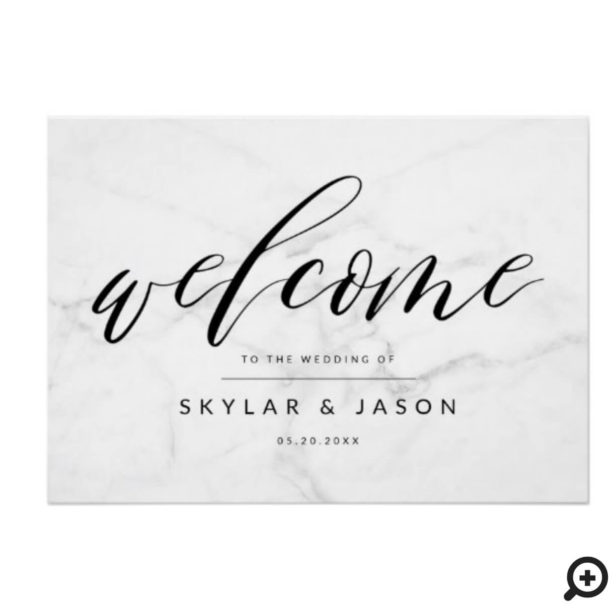 Calligraphy Script Marble & Black Welcome Wedding Poster