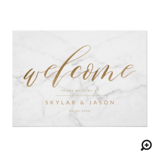 Calligraphy Script Marble & Gold Welcome Wedding Poster