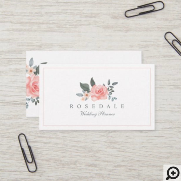 Chic Blush Pink Watercolor Floral Rose & Greenery Business Card