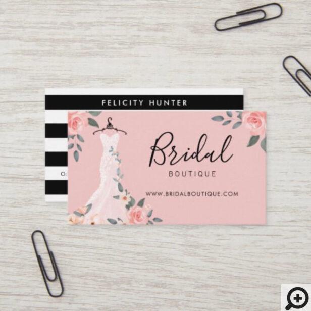 Chic Floral Rose Wedding Dress Bridal Boutique Business Card