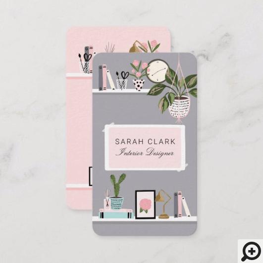 Chic & Girly Home Interior Design Wall Shelf Decor Business Card