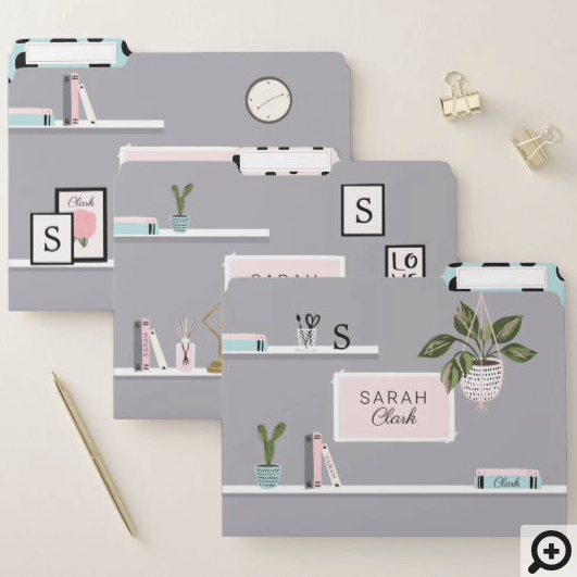 Chic & Girly Home Interior Design Wall Shelf Decor File Folder