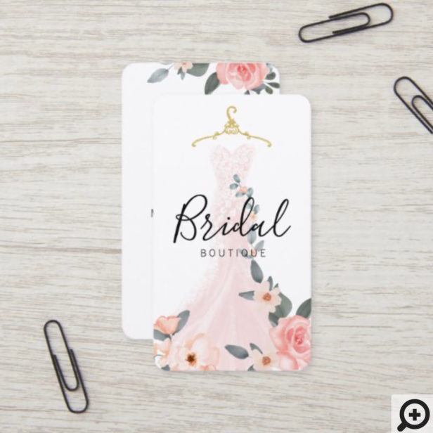 Chic Stylish Floral Wedding Dress Bridal Boutique Business Card