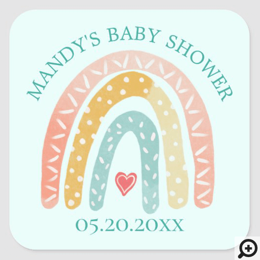 Colourful Rainbow & Heart Boy Baby Shower Square Sticker