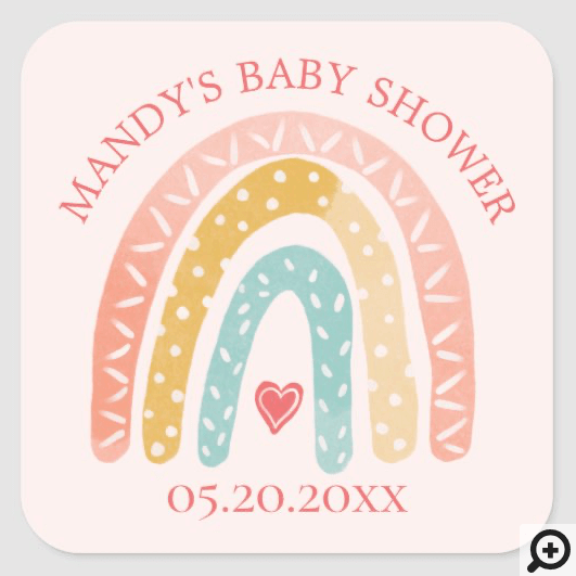 Colourful Rainbow & Heart Girl Baby Shower Square Sticker