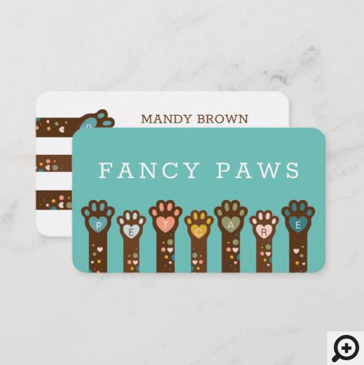 Cute Adorable Heart Shape Animal Pet Paws Business Card