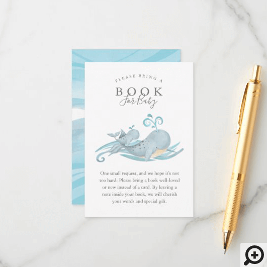 Cute Whimsical Mommy & Baby Whale Books For Baby Enclosure Card