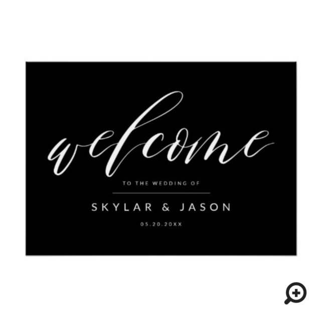Elegant Calligraphy Script Black Welcome Wedding Poster