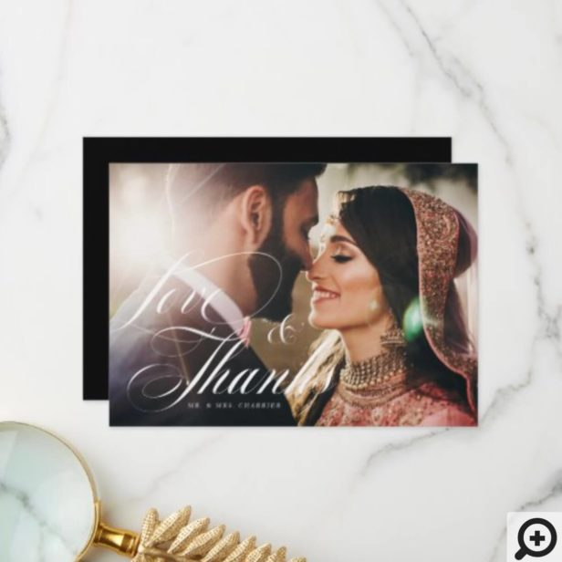 Elegant Script Love & Thanks Overlay Wedding Photo Thank You Card