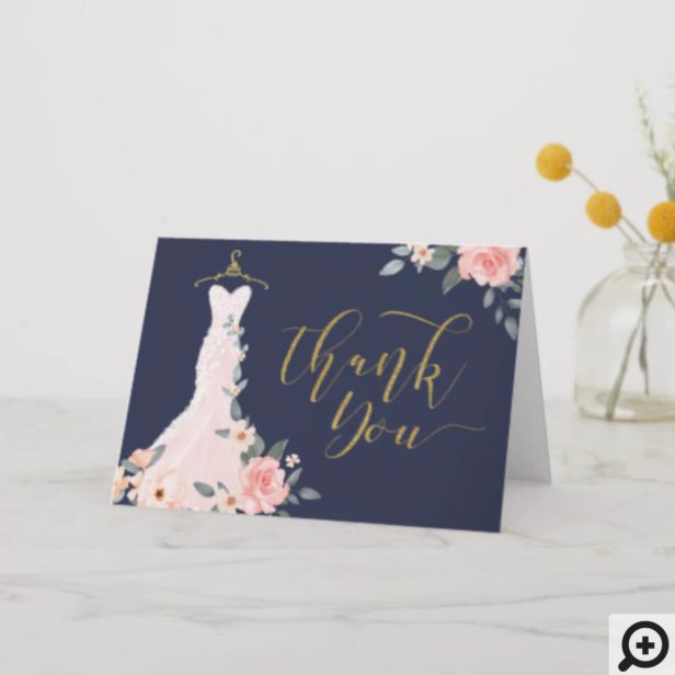 Elegant Watercolor Floral Rose Wedding Dress Thank You Card