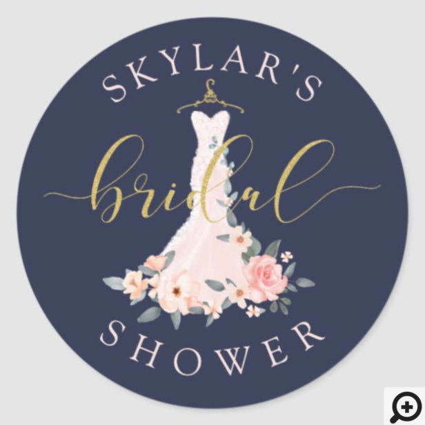 Floral Wedding Dress Navy Bridal Shower Classic Round Sticker