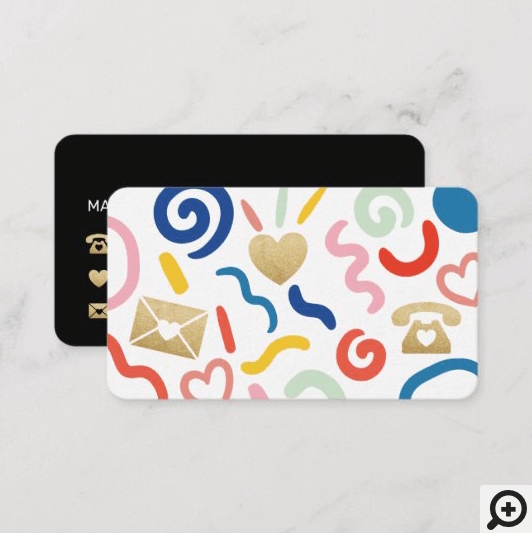 Fun & Funky Abstract Pattern Icon White & Black Business Card
