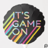 It's Game On Colorful Neon Laser Tag Birthday Balloon