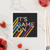 It's Game On Colorful Neon Laser Tag Birthday Napkin