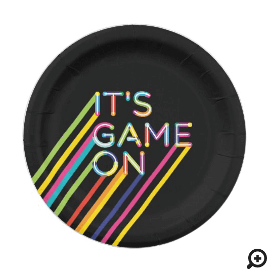 It's Game On Colorful Neon Laser Tag Birthday Paper Plate
