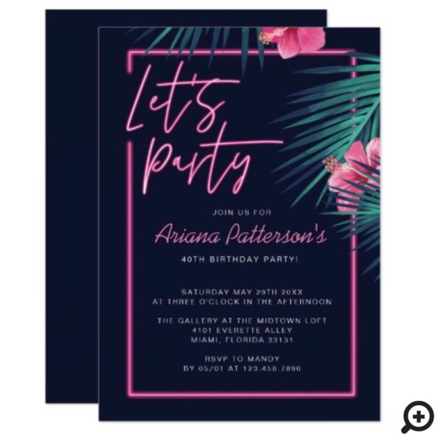 Let's Party Electric Neon Pink Tropical Birthday Invitation