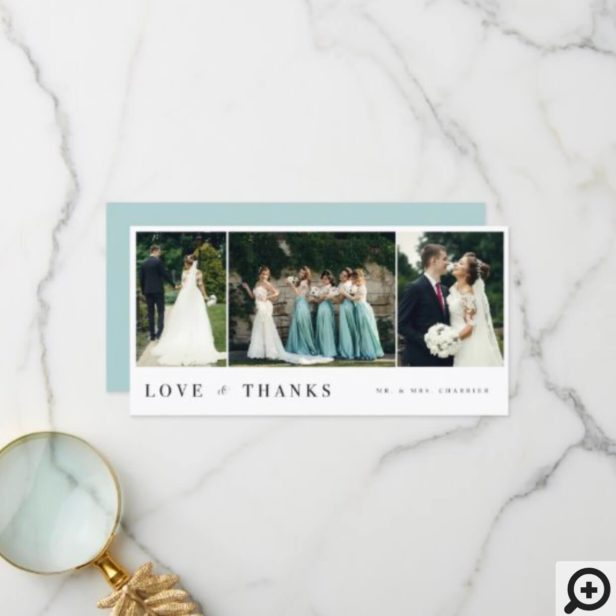 Love & Thanks Minimal 3 Photo Collage Wedding Thank You Card
