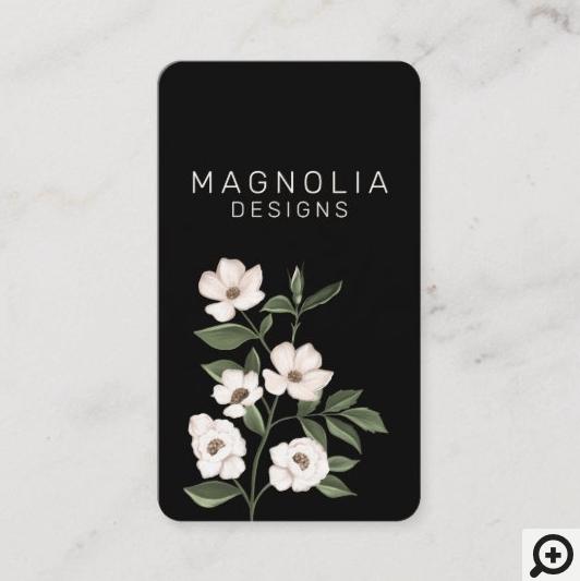 Magnolia White Flower Branch Illustration Black Business Card
