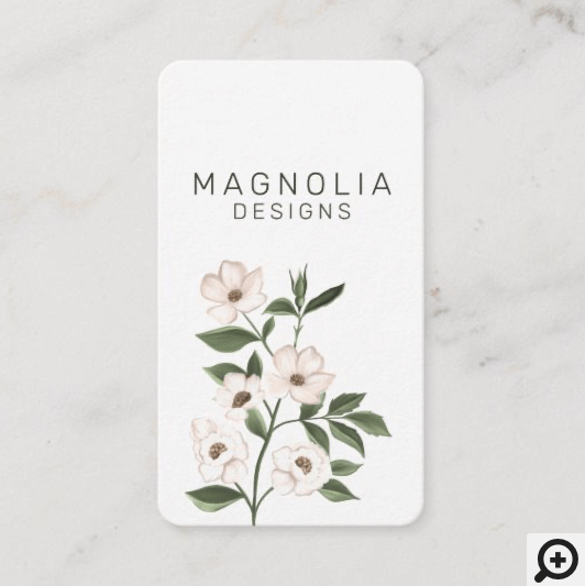 Magnolia White Flower Branch Illustration White Business Card