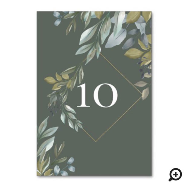 Minimal Foilage & Gold Geometric Terrarium Green Table Number