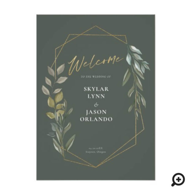 Minimal Foliage & Gold Geometric Terrarium Welcome Green Poster