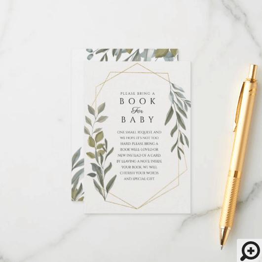Minimal Foliage & Gold Terrarium Book For Baby Enclosure Card
