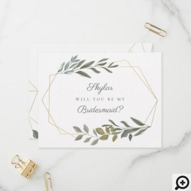 Minimal Greenery & Gold Will You Be My Bridesmaid Invitation Postcard