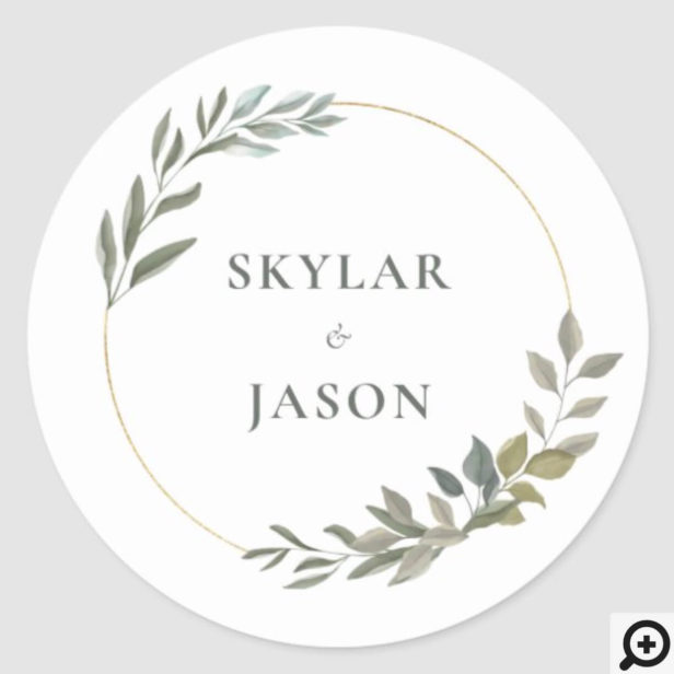 Minimal Leaf Greenery & Gold Geometric Circle Classic Round Sticker