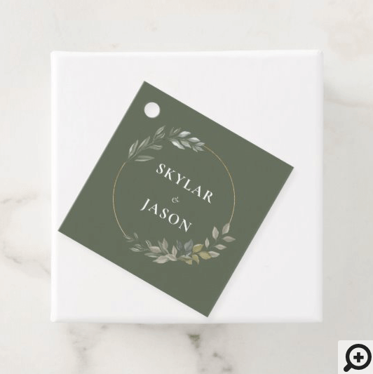 Minimal Leaf Greenery & Gold Geometric Circle Favor Tags