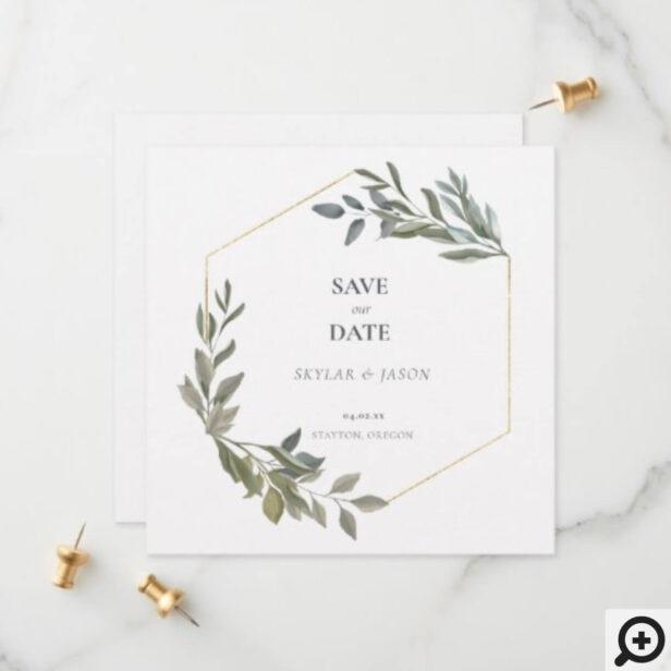 Minimal Leaf Greenery & Gold Geometric Terrarium Save The Date