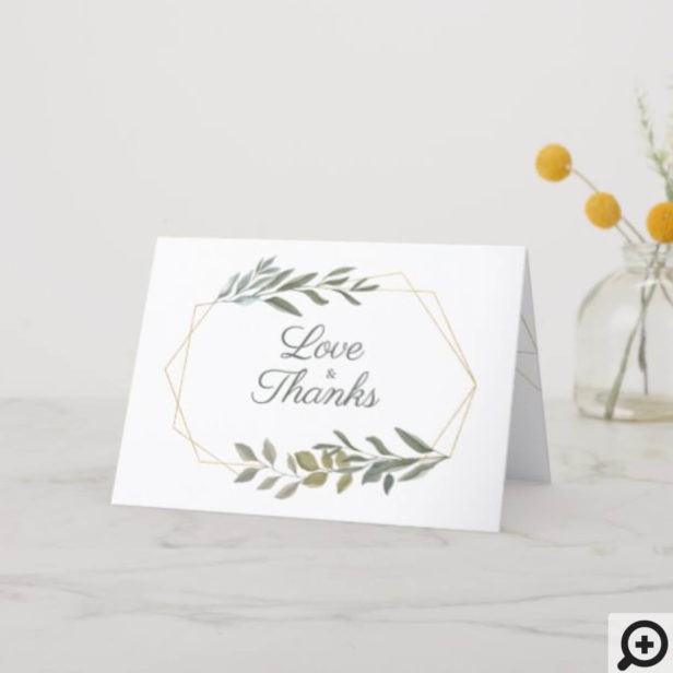 Minimal Leaf Greenery & Gold Geometric Terrarium Thank You Card