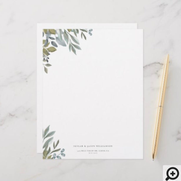 Minimal Leaf Watercolor Sage Greenery & Foliage Stationery Paper