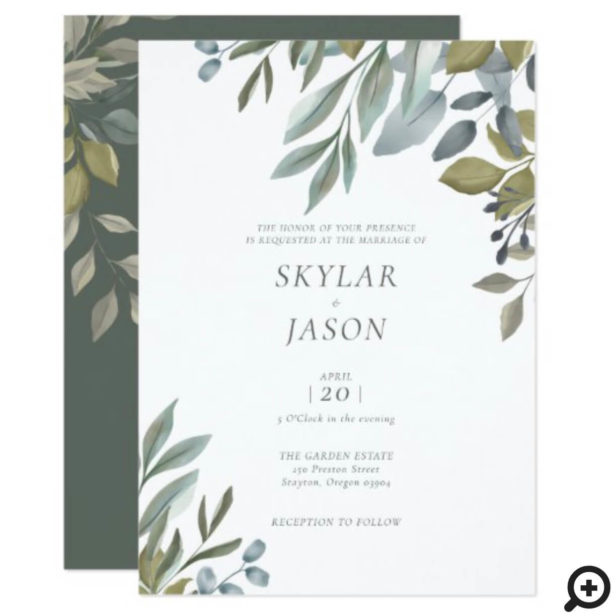 Minimal Leaf Watercolor Sage Greenery Wedding Invitation