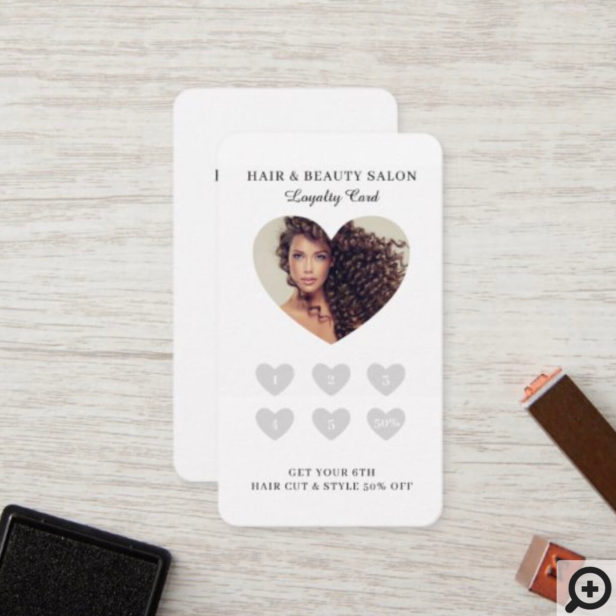 Minimal Love Heart Photo Frame Loyalty Card
