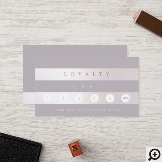 Minimal Pewter Violet Grey & Lux Pearl Stripe Loyalty Card