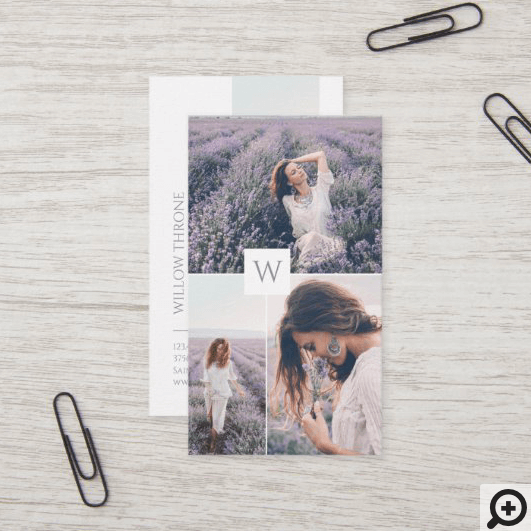 Minimal Three Photo Collage Layout Monogram Business Card