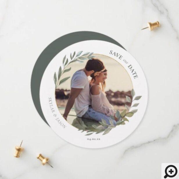 Minimal Watercolor Foliage & Gold Circle Photo Save The Date