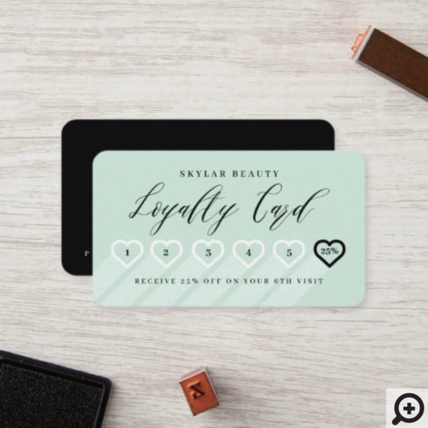 Minty Green & Black Stylish Minimal Heart Love Loyalty Card