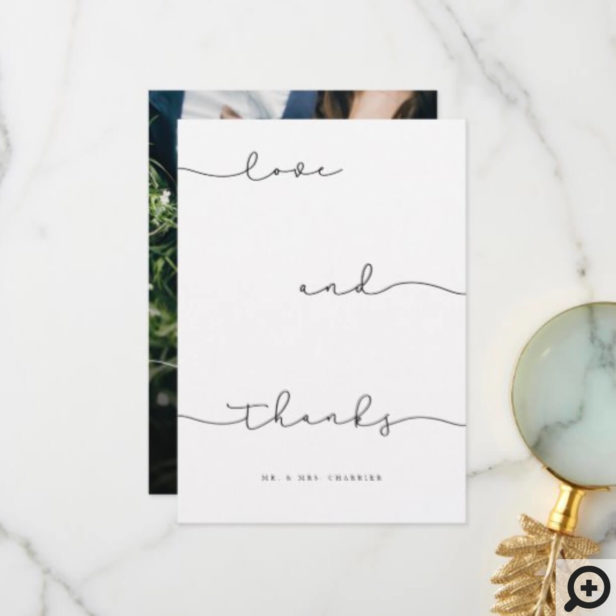 Modern Minimal Black Love & Thanks Script Photo Thank You Card