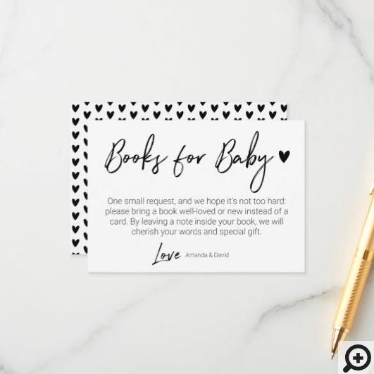 Modern & Minimal Books For Baby Black Brush Script Enclosure Card