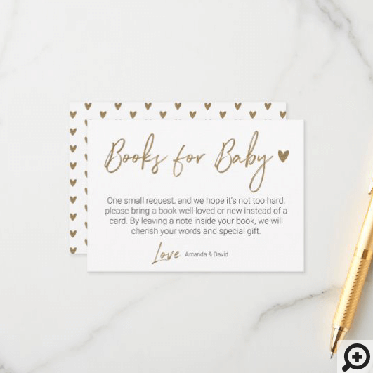 Modern & Minimal Books For Baby Gold Brush Script Enclosure Card