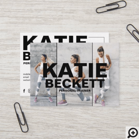Modern & Trendy Personal Trainer Fitness 3 Photo Business Card