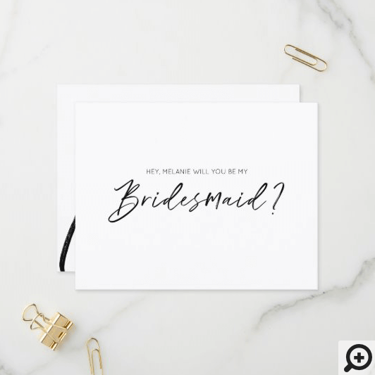 Modern Typographic, Will You Be My Bridesmaid Black and White Invitation Postcard